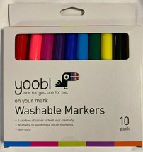 NEW YOOBI ON YOUR MARK WASHABLE MARKERS 10 PACK MULTI COLOR NON TOXIC