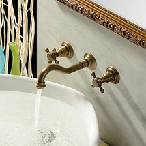 Antique Brushed Ceramic Two Handle Three Hole Wall Mounted Basin Faucets - $197.01+