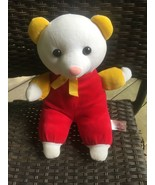 VTG White Red Yellow Soft Velour Plush Bear with Pink Nose Toy Connectio... - $39.59