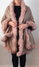 Pure Cashmere Cape with Fox trim (Camel Taupe with Peach Colour Fur) RRP... - $192.24