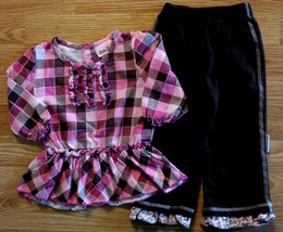 Girl's Size 18 M Months 2P Pink/ Brown Checkered Dress & Brown Ruffled P... - $17.00