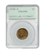 1908-S 1c PCGS MS65 RB (OGH Rattler Holder) - Indian Cent - $1,435.60