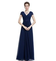 Navy Blue Long Bridesmaid Dresses Sexy V Women Party Dress With Short Sleeve - $72.00