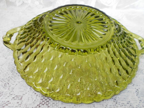 TWO VINTAGE INDIANA GREEN GLASS SERVING DISHES CANDY DISHES
