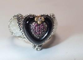 Estate Barbara Bixby 925 18K Winged Heart Mother of Pearl Garnet Ring SZ 7 - $158.94