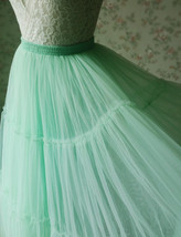 Women Tiered Long Tulle Skirt Mint Green Long Layered Tulle Skirt image 6