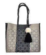 Silver Black Cream beach tote plastic shopping handwoven Bag With pom Ta... - $85.00