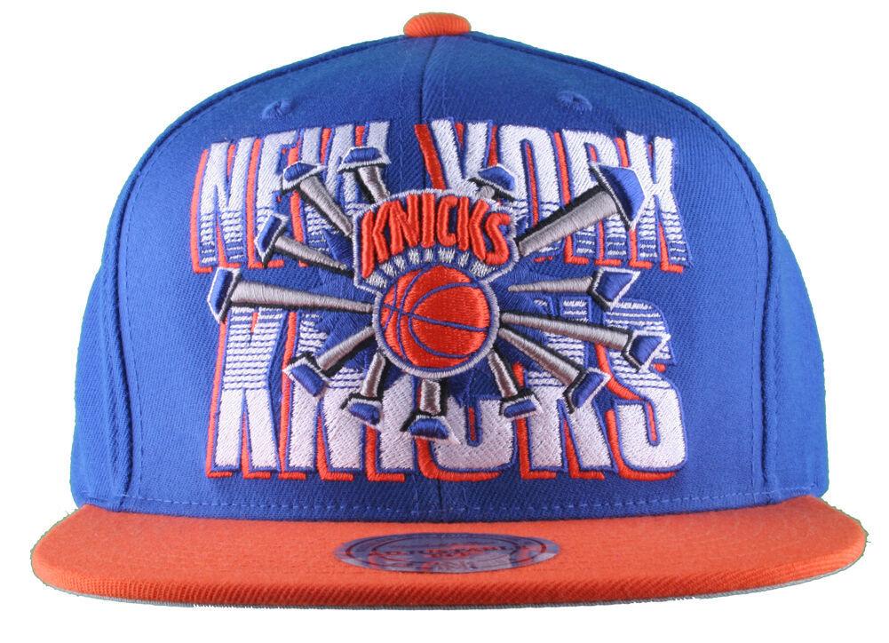 Mitchell & Ness New York Knicks Naranja Azul NBA Tablero Disyuntor Gorra Plana