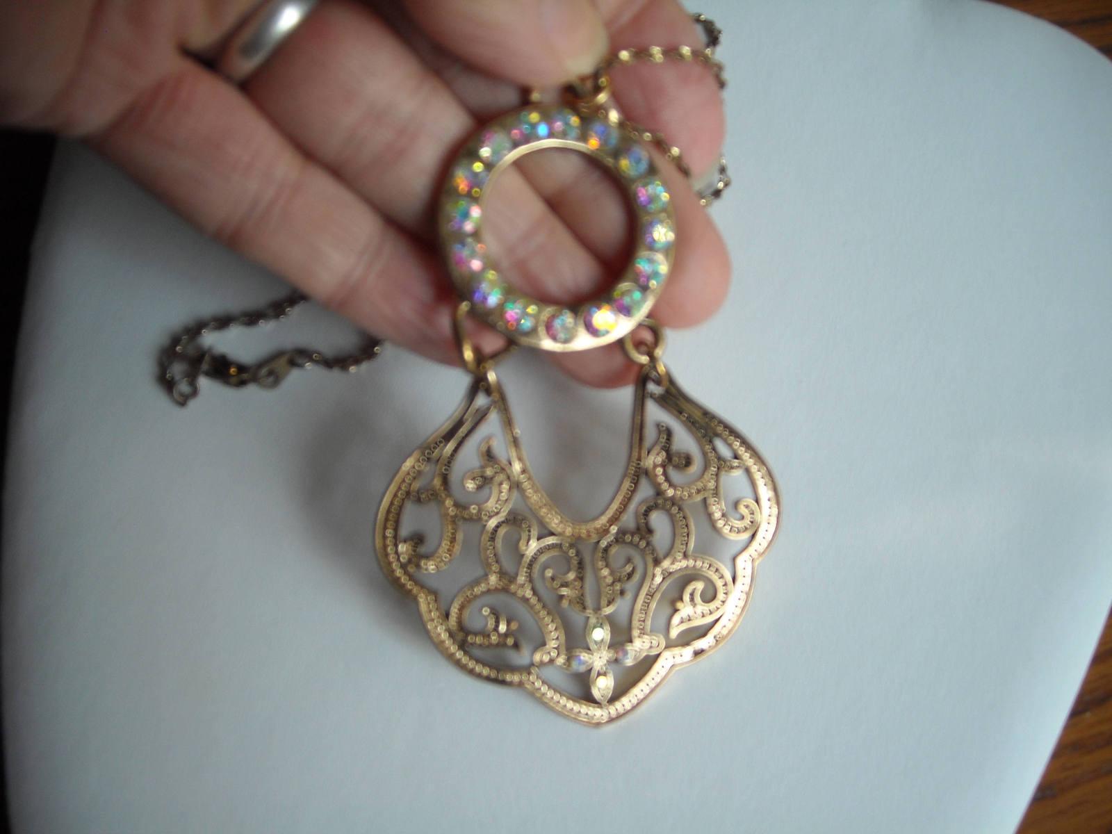 Necklace Gold Tone Filigree Metal & Aurora Borealis Rhinestones Gold Tone Chain