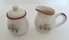 Royal Seasons RN2 Creamer & Sugar Bowl w/Lid Red Trim Snowmen Stoneware  - $21.66