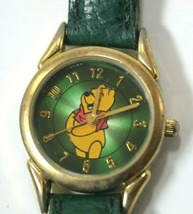 Rare Disney Store Women's Watch Winnie The Pooh Green with Gold Tone - $51.97