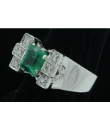 Art Deco (ca.1920) 18K White Gold Emerald & Diamond Ring (Size 7 1/4) - $1,085.00