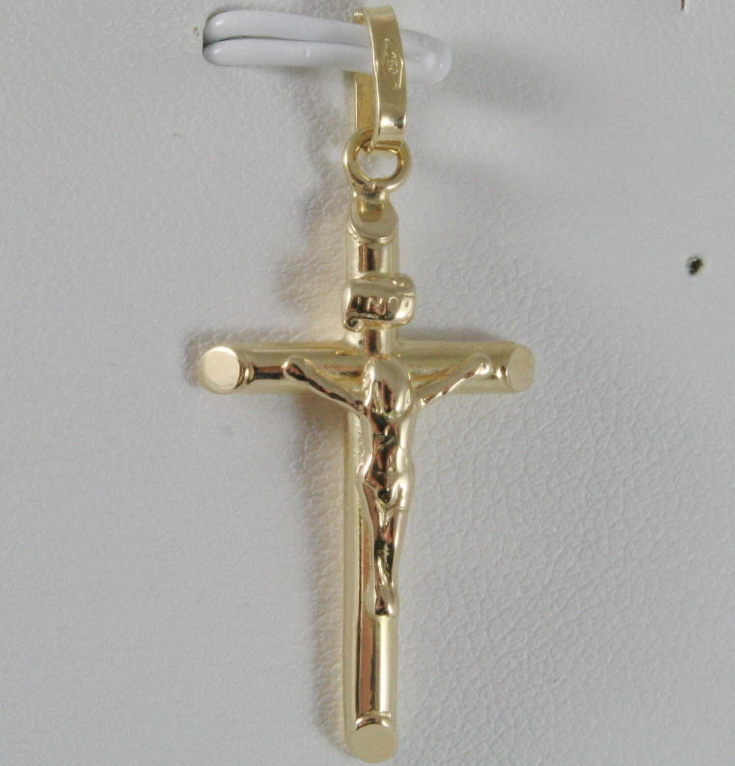 18K YELLOW GOLD CROSS WITH JESUS, ROUNDED TUBE, SHINY 1.42 INCHES, MADE IN ITALY