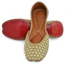 Indian shoes with beads work slip ons mojari Punjabi Jutti in Gold Color - $44.99