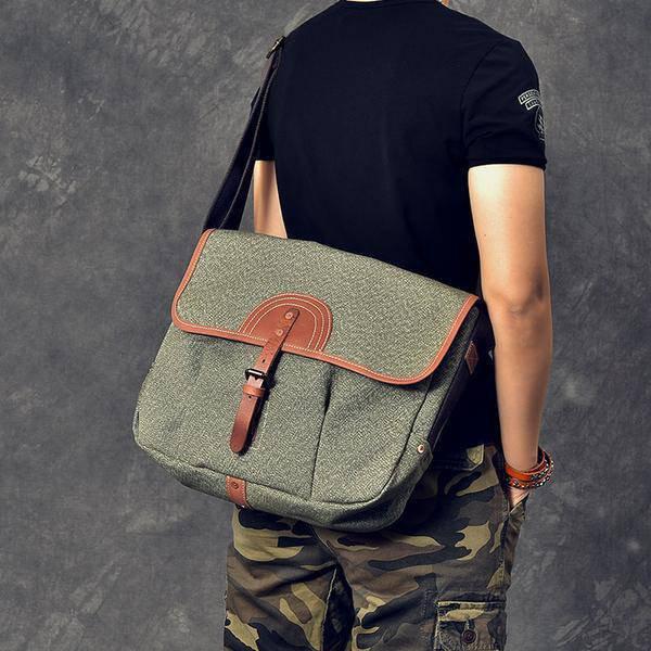 Sale, Canvas With Leather Messenger Bag, Large Capacity Shoulder Bag, Laptop Bag