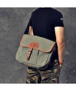 Sale, Canvas With Leather Messenger Bag, Large Capacity Shoulder Bag, La... - $135.00