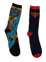 "DC Comics Superman ""Do My Own Thing"" Men's Crew Socks 2 Pr New - $9.28"