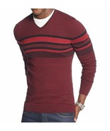 Alfani Men's Sweater V-neck Raisin Torte Black Combo Striped Pullover New - $24.99