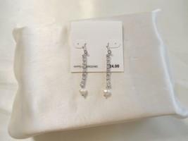 "Department Store 2.25"" Silver Tone Sim.Pearl Crystal Dangle Drop Earrings - $10.55"