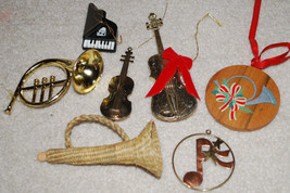 Musical Instruments LOT Christmas Ornaments French Horn Violin Piano Cel... - $13.32