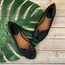 Lucky Brand Birna Peep Toe Flats Size 8.5 Black Leather Floral Cutout Trim - $34.64