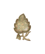 Vintage Brass Decorative Leaf shape Tray with floral motif, colored anod... - $36.00