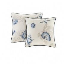 Beach Throw Pillows Set 2 Home Decor Square Cushions Nautical Coastal Oc... - $1.617,00 MXN
