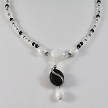 NECKLACE ANTIQUE MURRINA VENICE WITH MURANO GLASS BLACK AND WHITE , ADJUSTABLE image 2