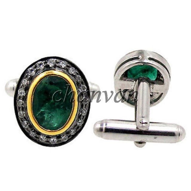 Vintage INSPIRE Rose Cut Diamond 925 Silver Emerald Cufflinks Men's Jewelry