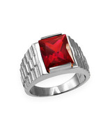 Sterling Silver Mens Square CZ July Birthstone Watchband Ring - $64.99