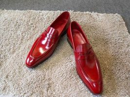 Handmade  Men's Red Leather Slip Ons Loafer Shoes image 3