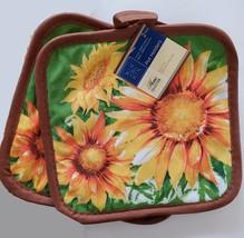 Sunflower Kitchen Set, 5pc, Towels Potholders Oven Mitt Yellow Green Flowers image 3