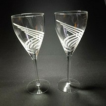 "2 (Two) Lenox Windswept Clear Etched Lead Crystal Wine Glasses 7 7/8"" T - Signed - $66.49"