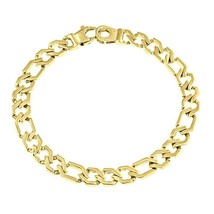 Men's Figaro Link Chain Bracelet 14k Solid Yellow Gold Handmade 17g 7mm - $1,127.61