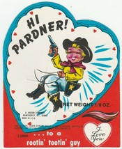 Vintage Valentine Lollipop Card Cowboy Hi Pardner 1960's E. Rosen Unused - $7.91