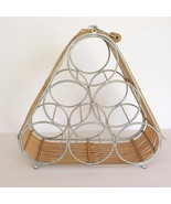 Wine Rack & Bottle Holder Metal Wicker Carry Handle Holds 6 Bottles Rattan - $19.79