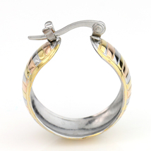 Chunky Striped Tri-Color Silver, Gold & Rose Tone Hoop Earrings- United Elegance image 4