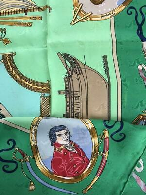 """Hermes Scarf LE GEOGRAPHE 90 cm Silk Green map Carre 35"""" M10"""