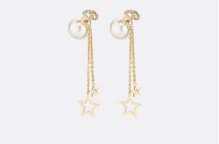 Authentic Christian Dior 2019 CD LOGO CHAIN STAR DANGLE DROP Earrings