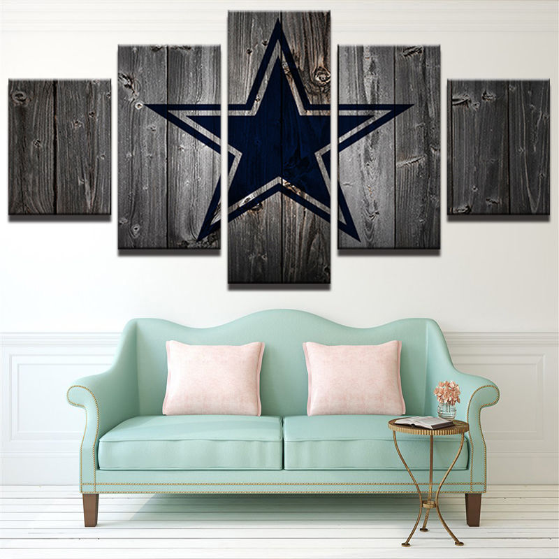 Used, 5 Panels Dallas Cowboys Vintage Retro Painting Canvas Wall Art Poster Home Decor for sale  USA