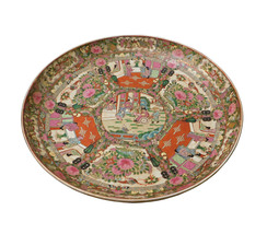 Chinese Porcelain Canton Pink Famille Color Flower Scenery Large Plate c... - $1,680.00