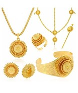 24K Gold Plated Hair Accessories Ethiopian Eritrean Jewelry Sets Wedding... - $31.87