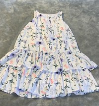 H&M Youth Size 9-10 White Floral Butterfly Print Summer Dress Tiered Ruf... - $22.00