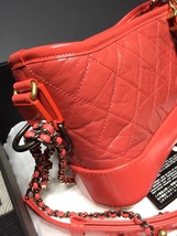 NWT AUTH Chanel 2019 Red Quilted Calfskin Small Gabrielle Hobo Bag GHW image 6