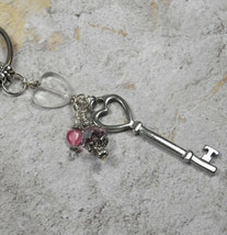 Skeleton Key Heart Crystal Beaded Handmade Keychain Split Key Ring Pink - $14.54