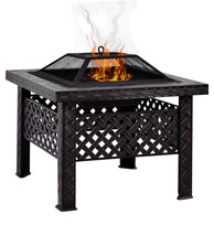 """26"""" Square Fire Pit Fire Bowl Outdoor BBQ Burning Grill Patio Poker Grat... - $39.59+"""