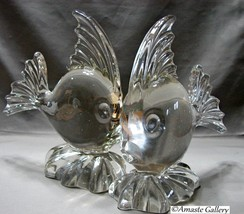 New Martinsville Viking ANGEL FISH Clear Crystal Glass Angelfish Bookends - $80.00