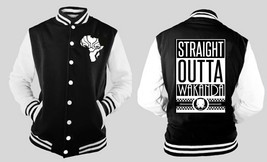 Black Panther Outta Wakanda Varsity Baseball BLACK/WHITE Fleece Jacket - $32.66