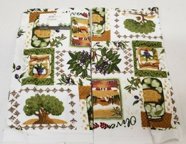 "2 SAME PRINTED TERRY KITCHEN COTTON TOWELS,15"" x 25"", OLIVES, HERBS, DIL... - $13.85"