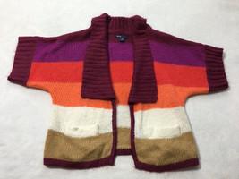 Gap Kids M 8 Penelope Berry White Tan Stripe Soft Cardigan Dolman Sweater - $9.99
